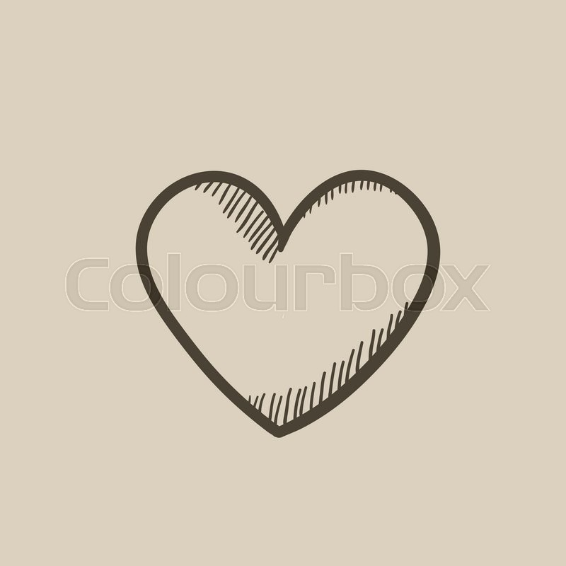 Heart Sign Vector Sketch Icon Isolated On Background Hand Drawn