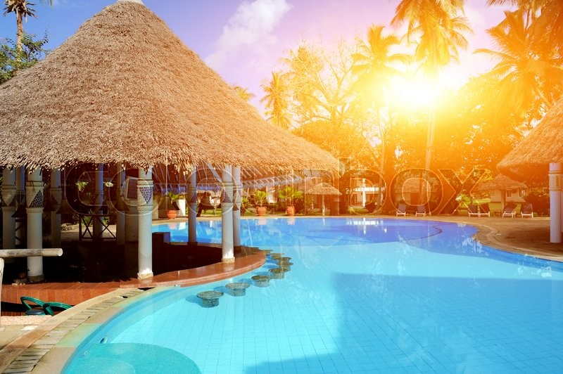 House with blue swimming pool and palm in summer day, stock photo