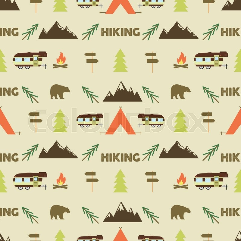 Hiking seamless pattern. Hiking trail seamless wallpaper design. Equipment for outdoor walking background for print. Hiking or gear rustic pattern- tent, rv, bonfire. Hike park pattern design. Vector, vector