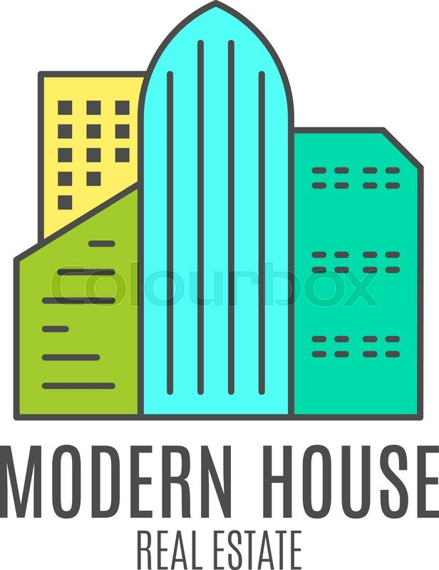 Vector modern house logo design real estate icon suitable for