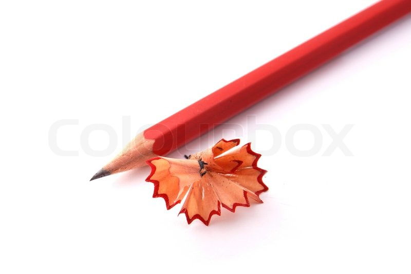sharpened pencil with chips on white background stock photo