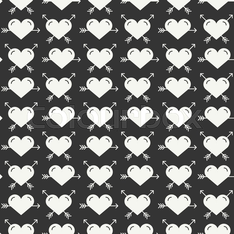 Stock vector of 'Geometric romantic line seamless pattern with hearts. Wrapping  paper. Scrapbook