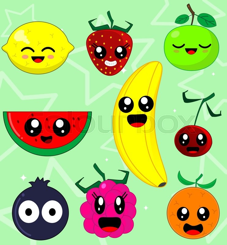 Kawaii Smiling Fruits Such As ...