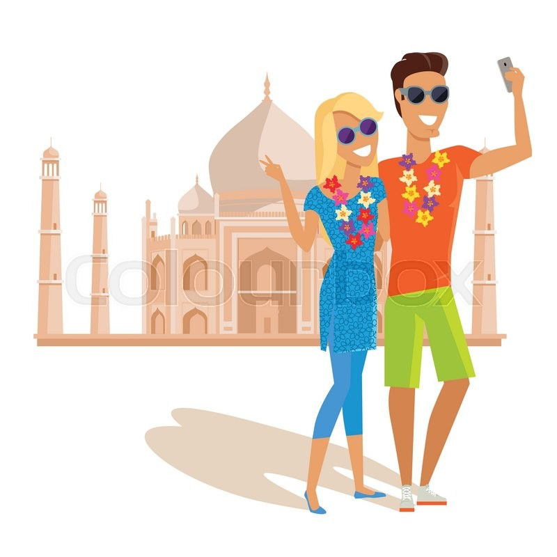 Summer vacation in India concept. Honeymoon in exotic countries vector illustration. Selfies on the background of famous historical monuments. Couple taking pictume near Tadj Mahal, vector
