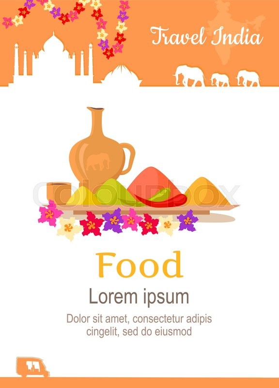 Travel India conceptual poster in flat style design. Summer vacation in exotic countries illustration. Journey to India vector template. Foreign cooking and restaurants, exotic food concept, vector