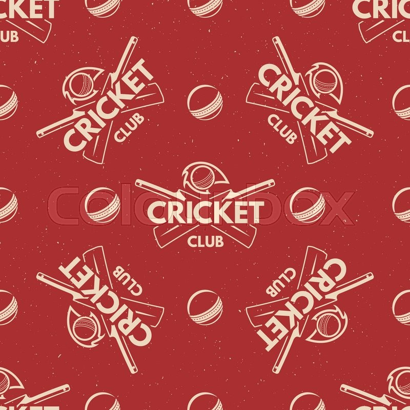 Sport pattern. Cricket retro background. Seamless pattern of cricket accessories. Bat ball symbols. With typography elements. Pattern for design, web, backdrop, tee design, t shirt etc. Vector, vector