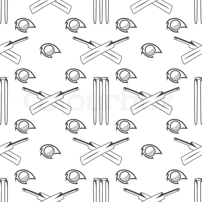 Sport pattern. Cricket retro background. Seamless pattern of cricket accessories. Bat ball symbols. Pattern for design, web, backdrop, tee design, t shirt etc. Vector, vector