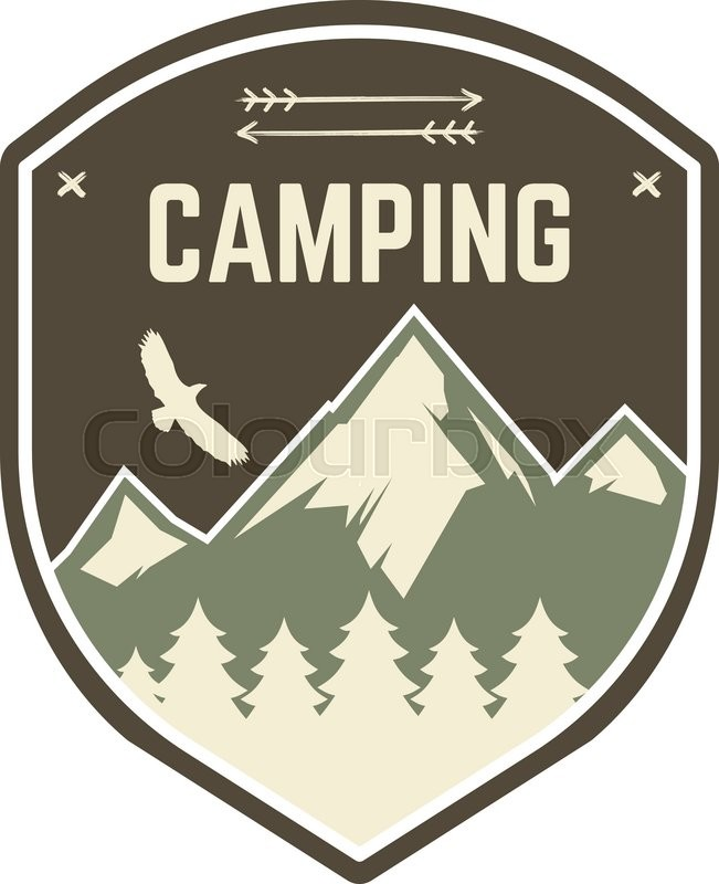 Camping Label Vintage Mountain Camp Explorer Badge Outdoor