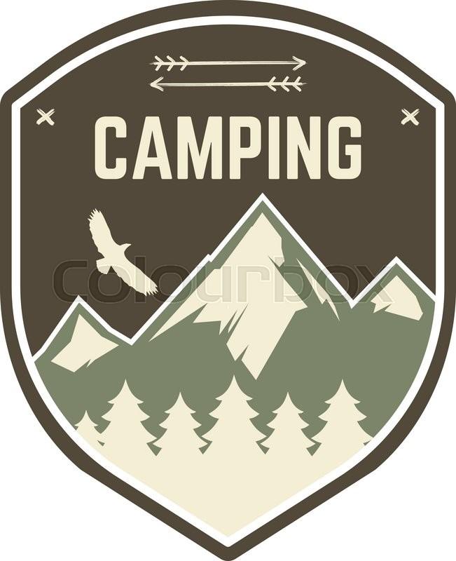 Camping Label Vintage Mountain Camp Explorer Badge