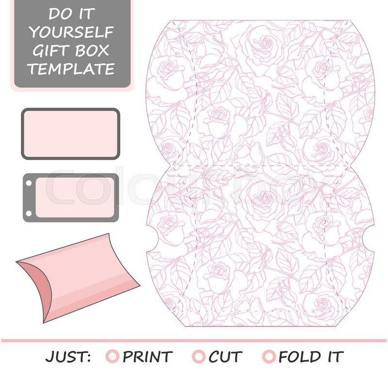 Packaging Die Cut Template | Favor Gift Box Die Cut Box Template With Rose Pattern Great For