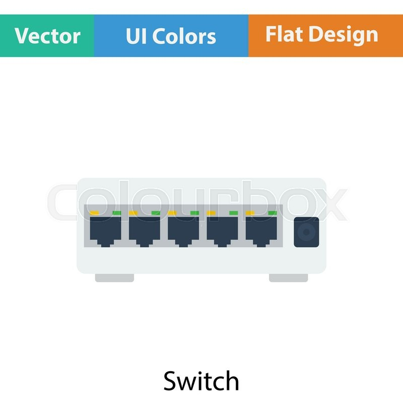 Ethernet switch icon. Flat color design. Vector illustration ...