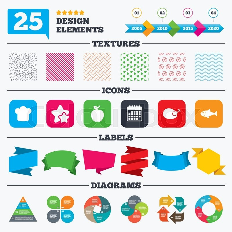 Offer Sale Tags Textures And Charts Food Icons Apple Fruit With