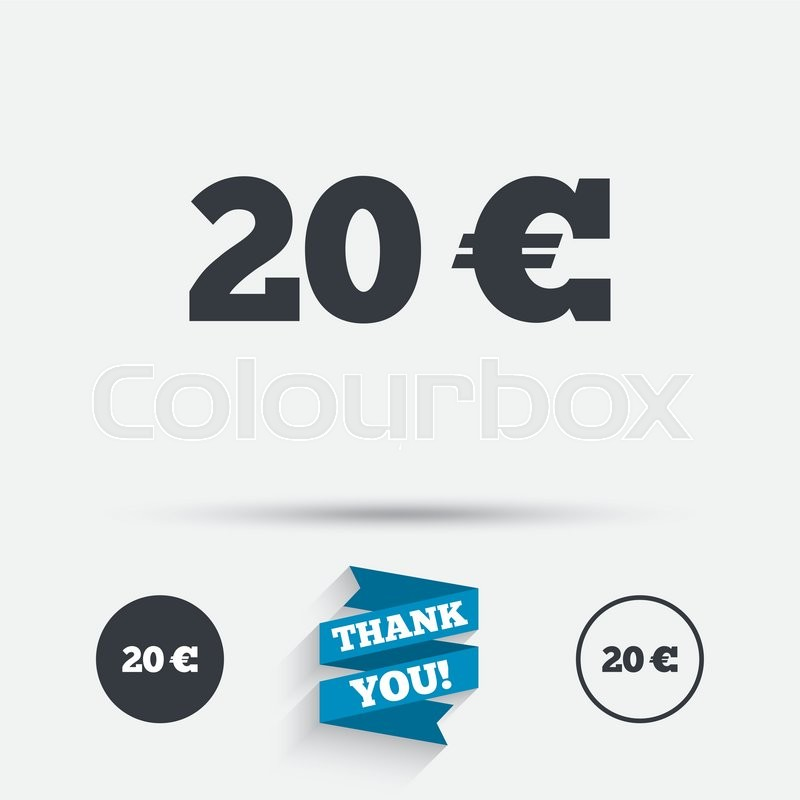 20 Euro Sign Icon Eur Currency Symbol Money Label Flat Icons