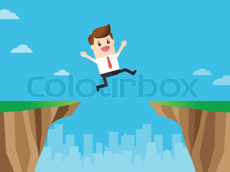 Businessman overcome fears jump over gap cliff flat design for Jump the gap