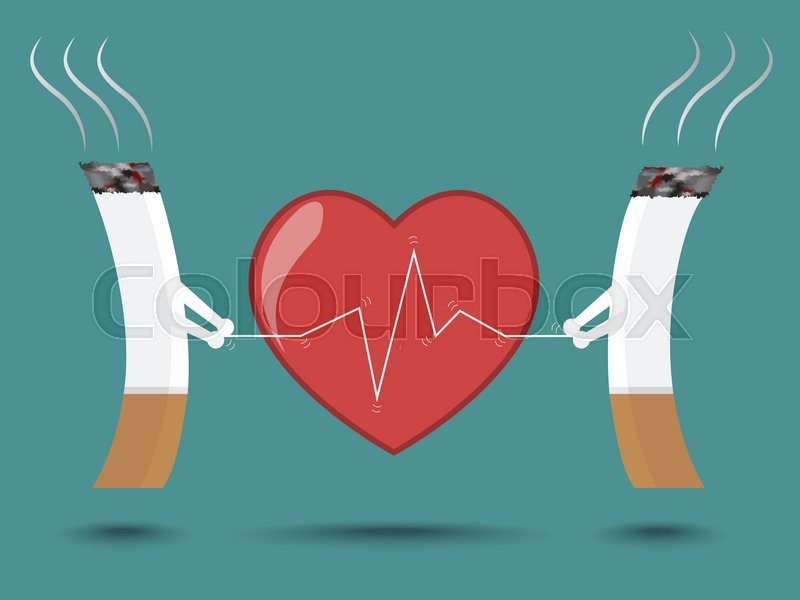 Smoking Cigarettes Can Cause Heart Disease Stock Vector