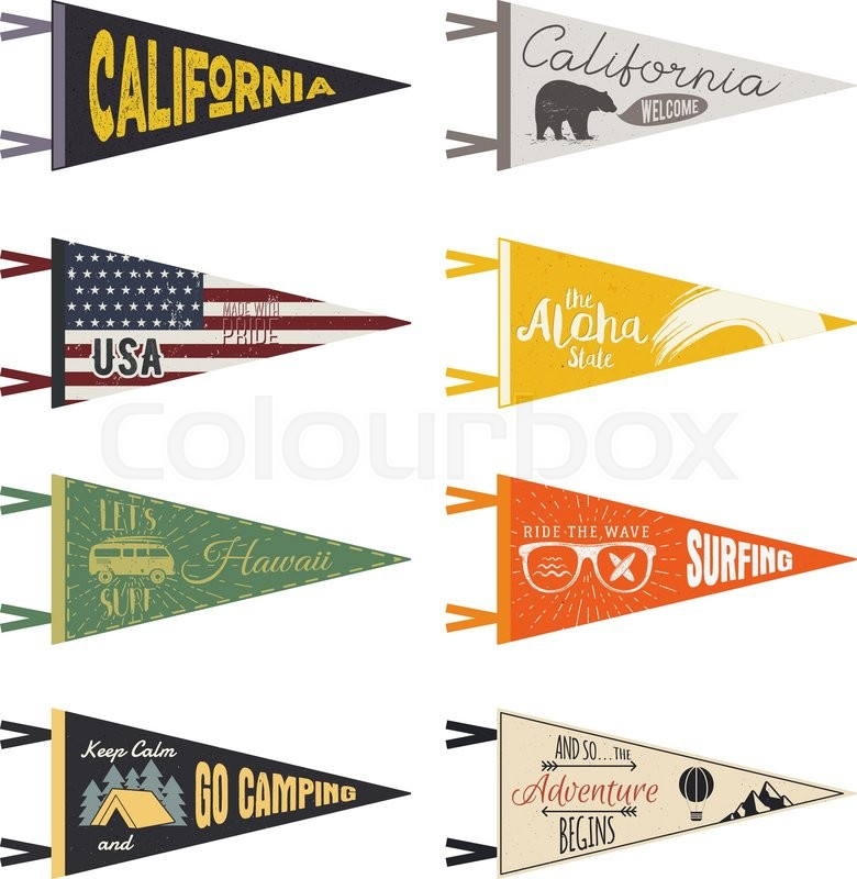 Set Of Adventure Pennants Vector Pennant Explore Flags Design