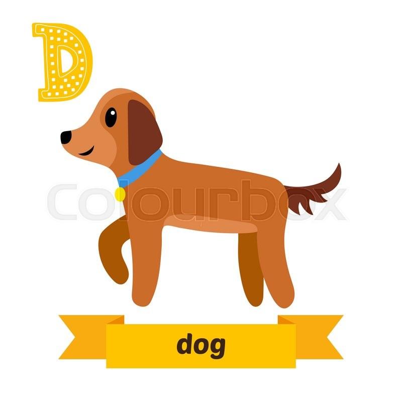 dog d letter cute children animal alphabet in vector funny