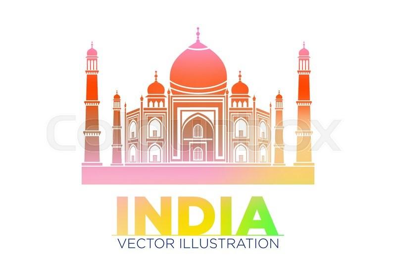 Taj Mahal Vector Symbol Design Red Color Polygonal Mosaic Style