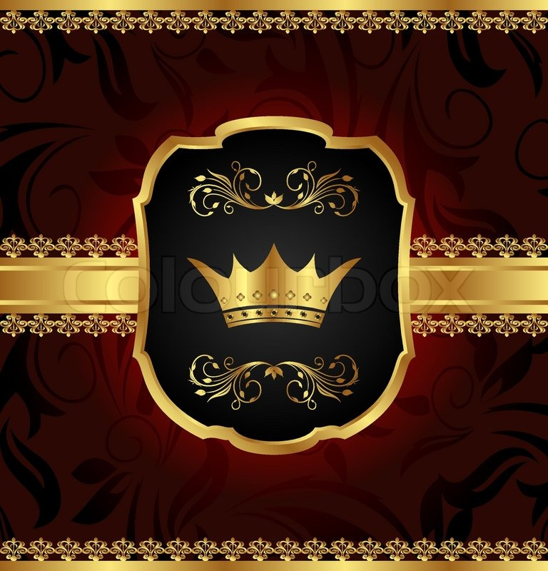... golden vintage frame with crown - vector | Vector | Colourbox