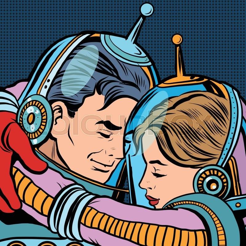 retro love couple astronauts man woman pop art vector science