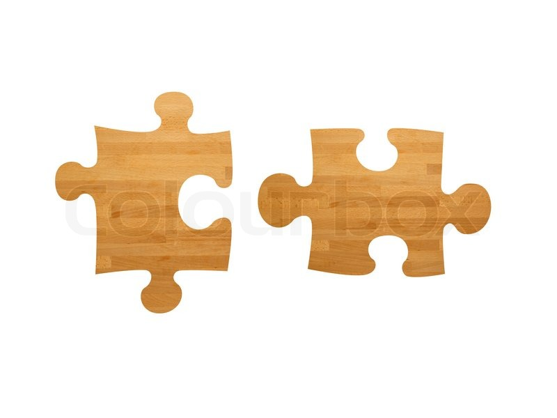Wooden jigsaw pieces isolated against a white background ...