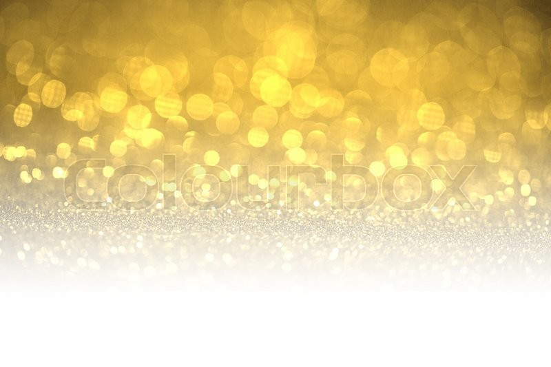 Gold glitter surface with gold light bokeh with white copyspace - It can be used for background for special occasions promotion campaign or product display, stock photo