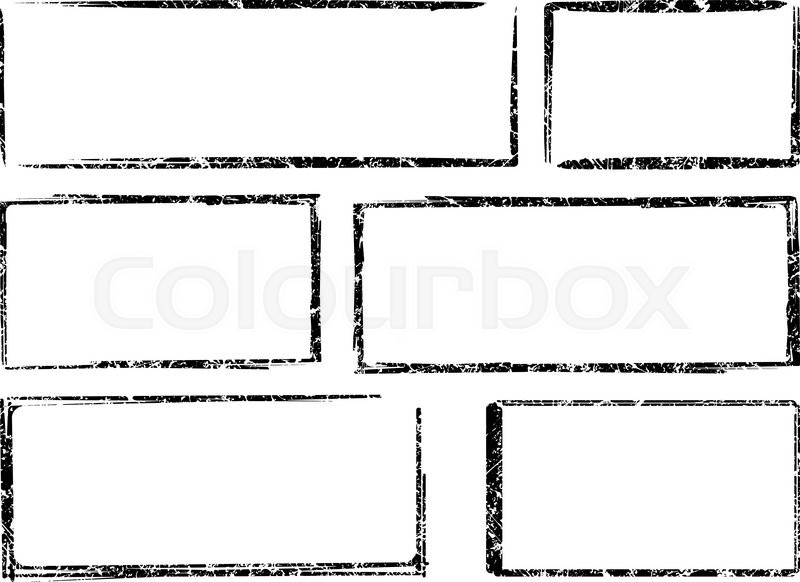 set of six square and rectangular grunge vector templates for rubber