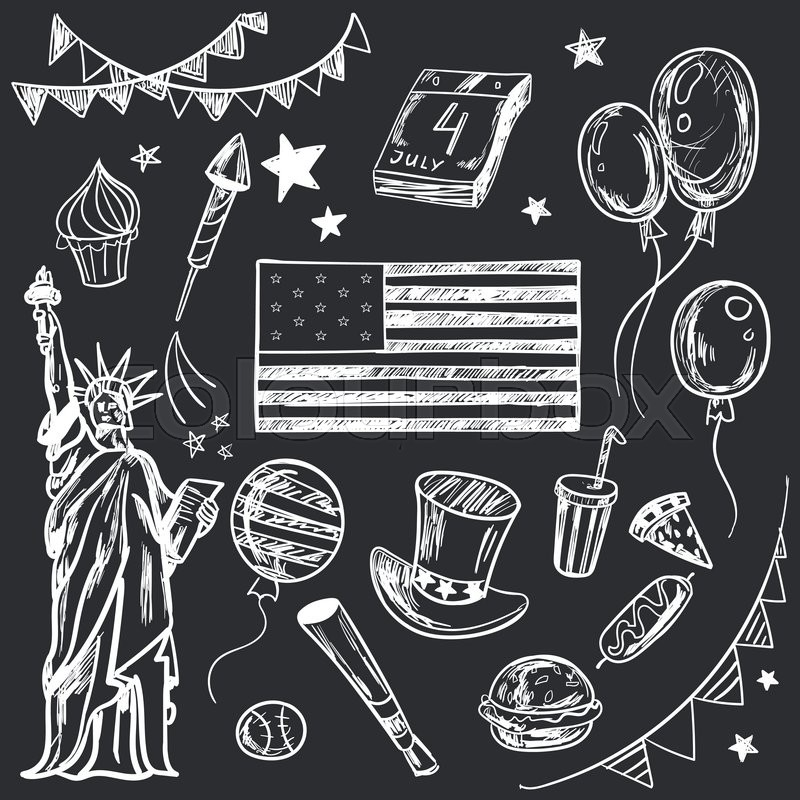 Happy Memorial Day American Themed Doodle Set National Symbols Of