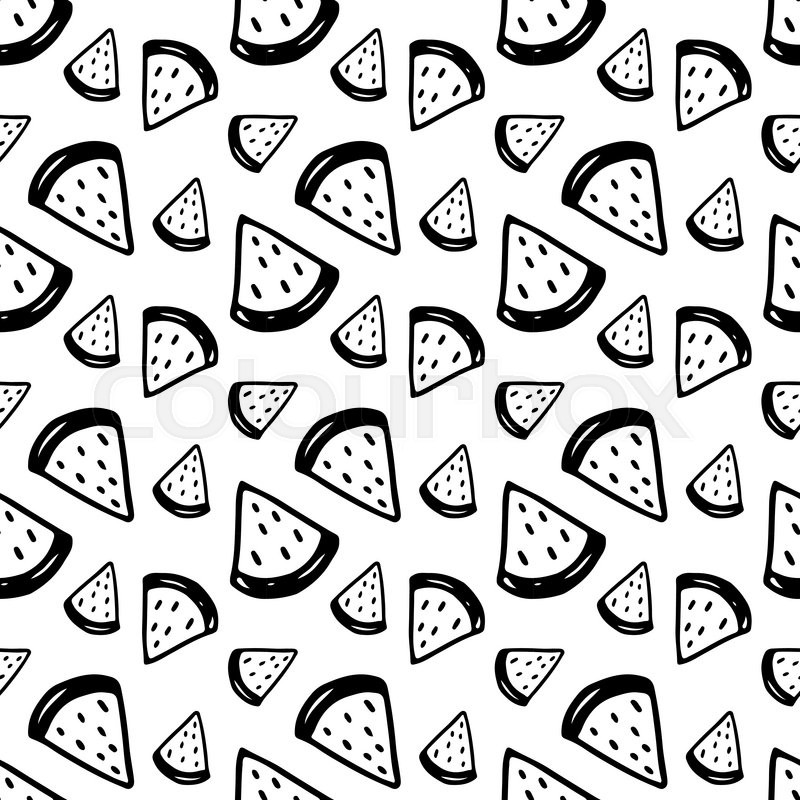 Stock vector of 'Cute black and white seamless pattern with hand drawn ...