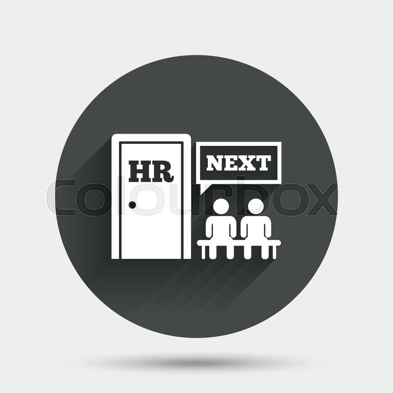 Human resources sign icon queue at the hr door symbol workforce of queue at the hr door symbol workforce of business organization circle flat button with shadow vector stock vector colourbox ccuart Images