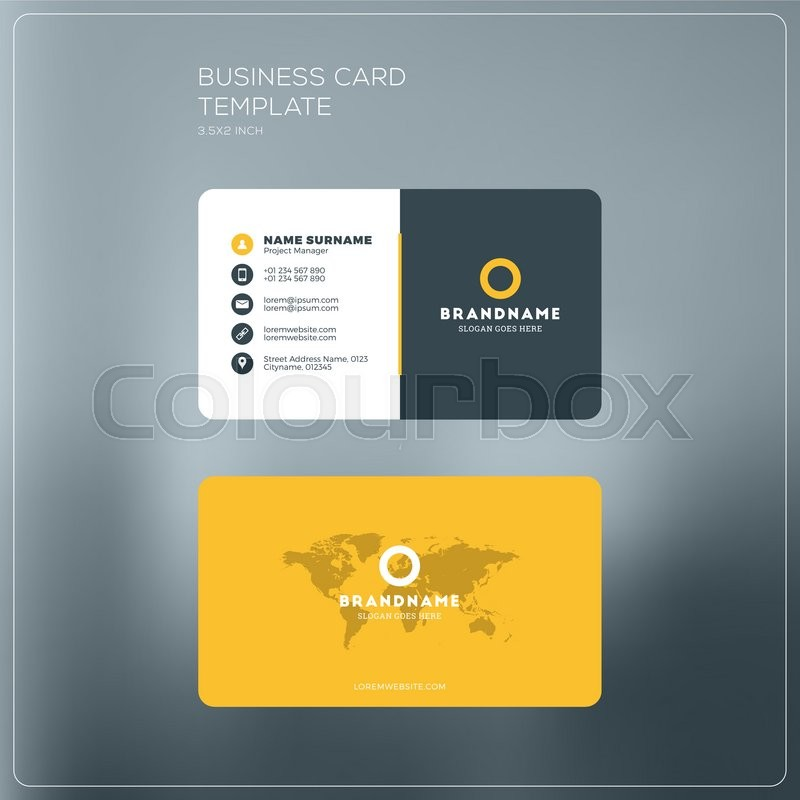 Corporate business card print template personal visiting card with corporate business card print template personal visiting card with company logo black and yellow colors clean flat design vector illustration accmission