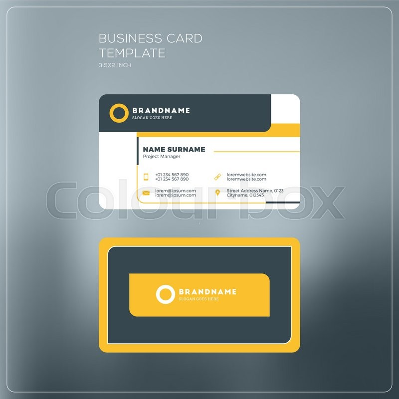 Corporate business card print template personal visiting card with corporate business card print template personal visiting card with company logo black and yellow colors clean flat design vector illustration flashek Choice Image