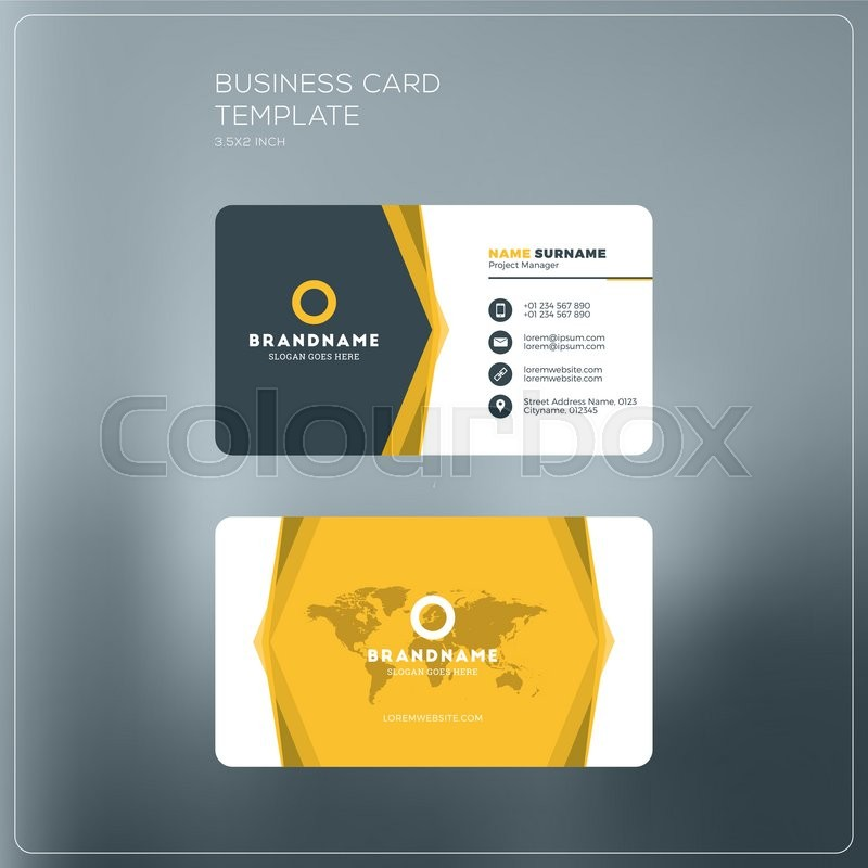 Corporate business card print template personal visiting card with corporate business card print template personal visiting card with company logo black and yellow colors clean flat design vector illustration cheaphphosting