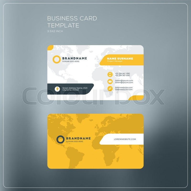 Corporate business card print template personal visiting card with corporate business card print template personal visiting card with company logo black and yellow colors clean flat design vector illustration friedricerecipe Gallery