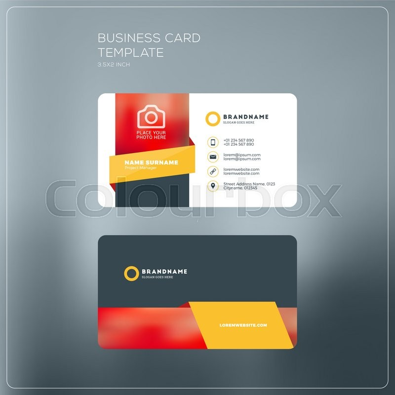 Corporate business card print template personal visiting card with corporate business card print template personal visiting card with company logo black and yellow colors clean flat design vector illustration wajeb Gallery