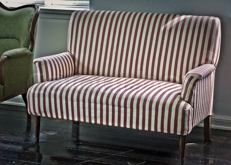 Vintage Sofa From A Old Danish Home. Red And White Stripes. | Stock Photo |  Colourbox