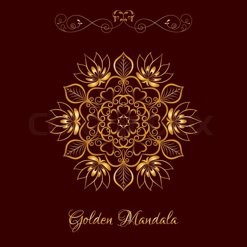 Vector Gold Color Flower Mandala Over Dark Brown Elements For Your Designs Invitation Card Yoga Meditation Astrology And Other Projects