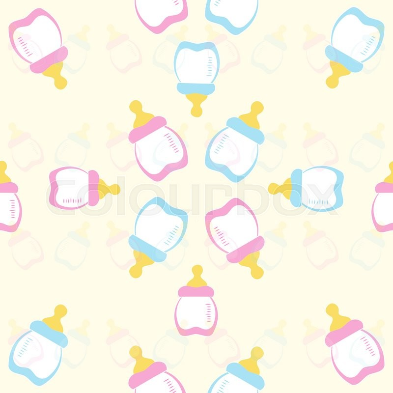 Baby Bottle Pink And Blue On A Yellow Stock Vector Colourbox