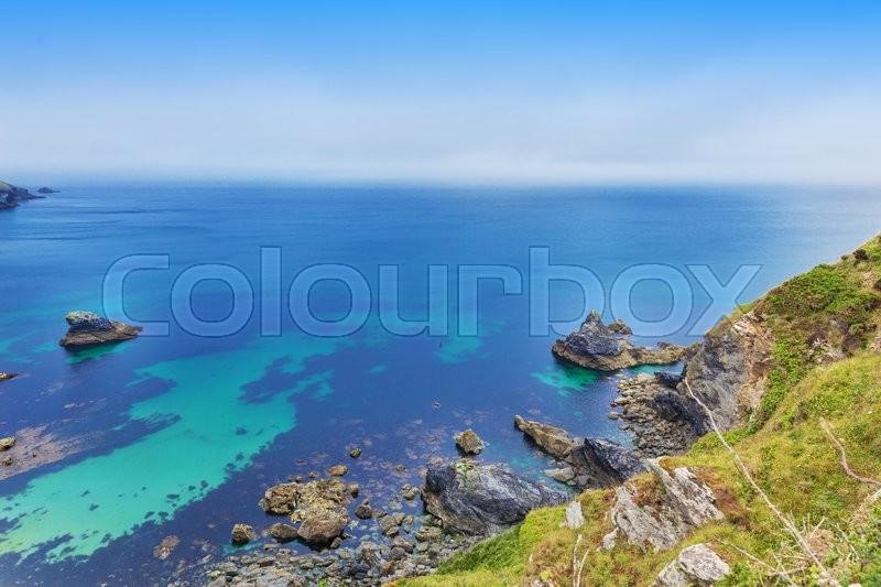Popular Heritage Coast Atlantic ocean, Cornwall, England, United Kingdom, stock photo