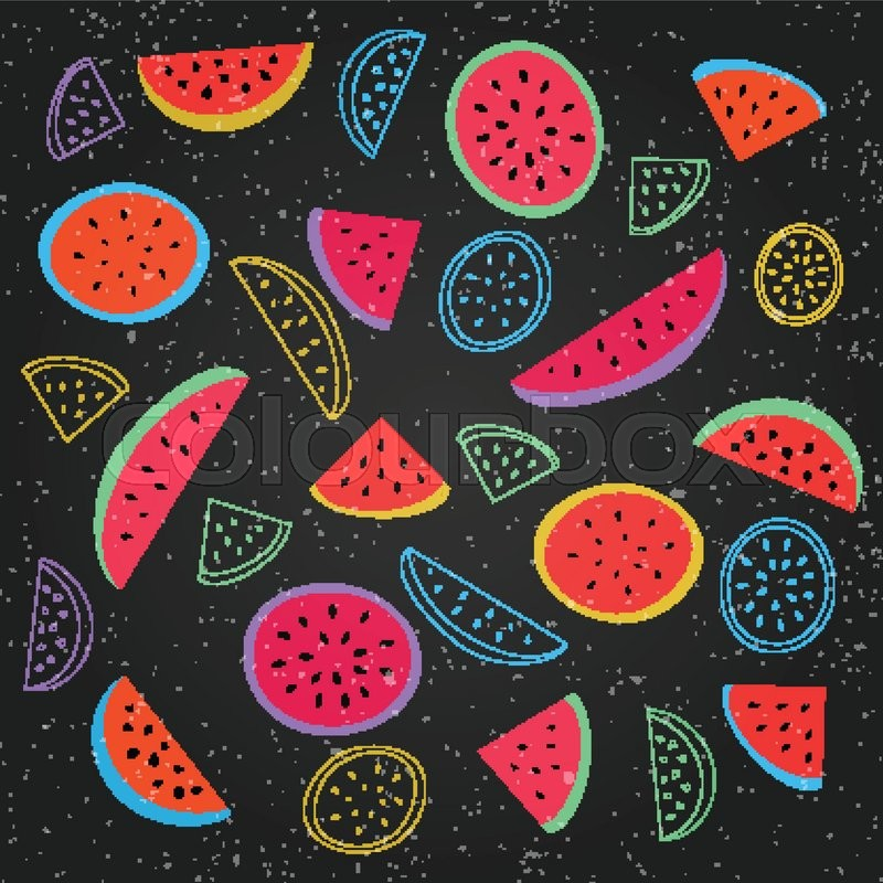 Seamless Pattern With Ripe Watermelon Symbol Over Black Background Vector Textile Print Ornament Fashion Grunge Wallpaper Cool Design Abstract