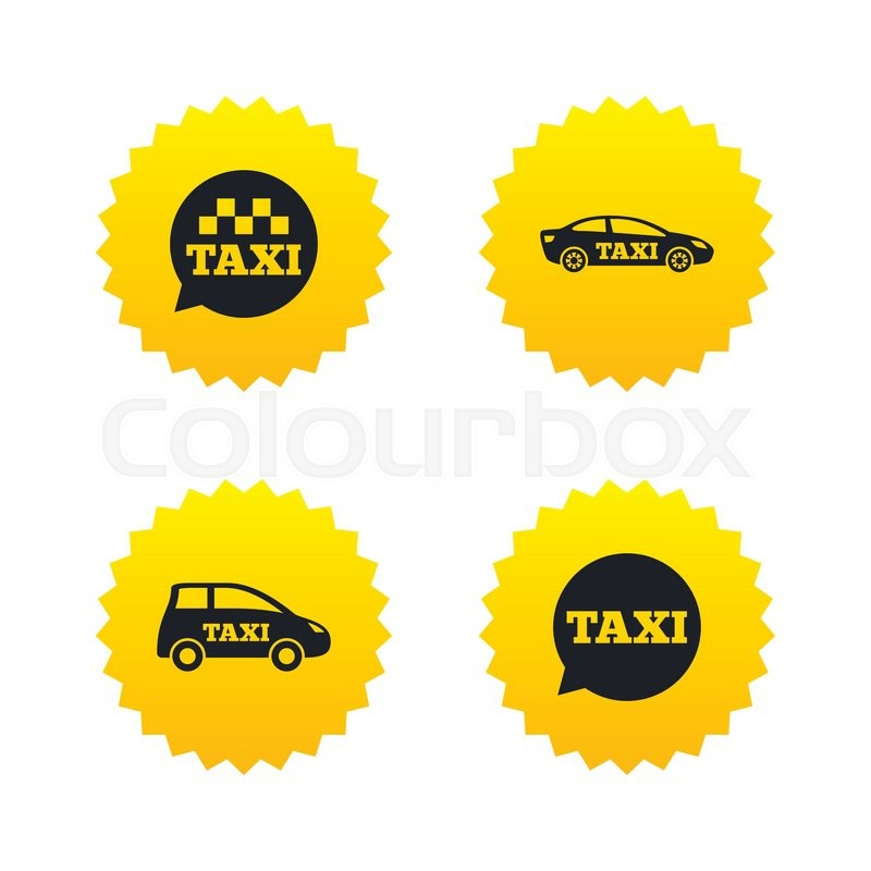 Public transport icons. Taxi speech bubble signs. Car transport symbol. Yellow stars labels with flat icons. Vector, vector