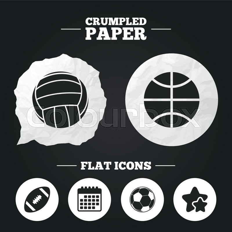 Crumpled paper speech bubble. Sport balls icons. Volleyball, Basketball, Soccer and American football signs. Team sport games. Paper button. Vector, vector