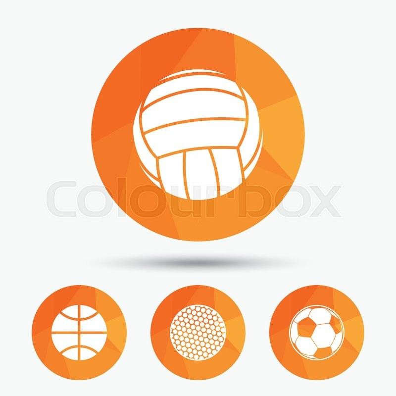 Sport balls icons. Volleyball, Basketball, Soccer and Golf signs. Team sport games. Triangular low poly buttons with shadow. Vector, vector