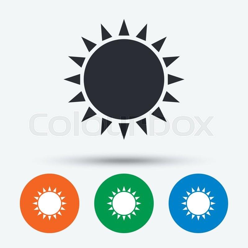 Sun Icon Sunlight Summer Symbol Hot Weather Sign Round Circle