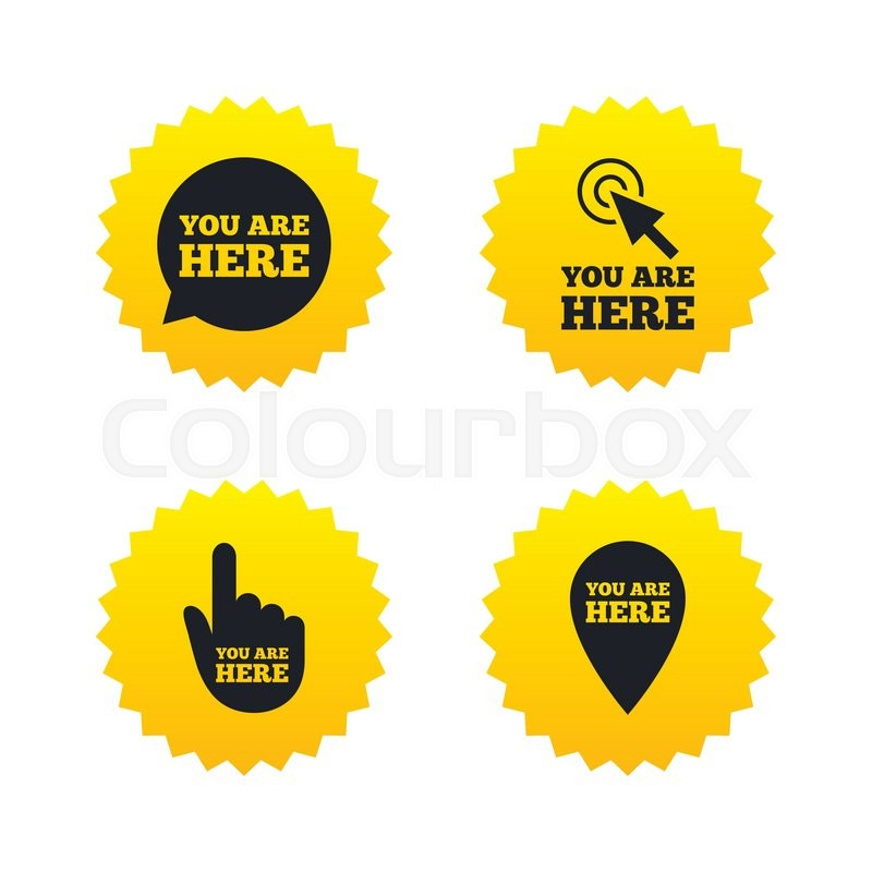 You Are Here Icons Info Speech Bubble Symbol Map Pointer With Your