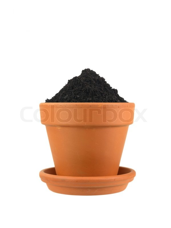 Soil in a clay pot isolated against a white background for Clay potting soil