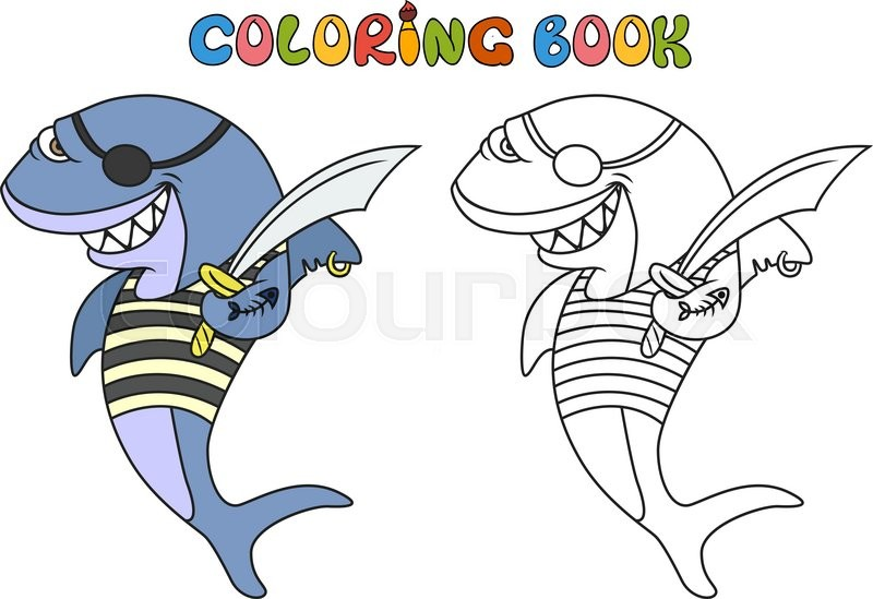 Cartoon Pirate Shark Coloring Book Vector Illustration Of Cute Animal Doodle