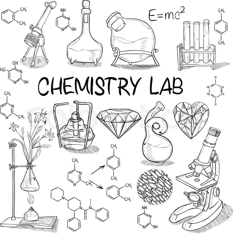 Hand drawn science vintage chemistry lab sketch set for Chemistry coloring page
