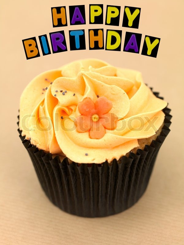 Remarkable Freshly Baked Cupcakes With Happy Stock Image Colourbox Funny Birthday Cards Online Eattedamsfinfo