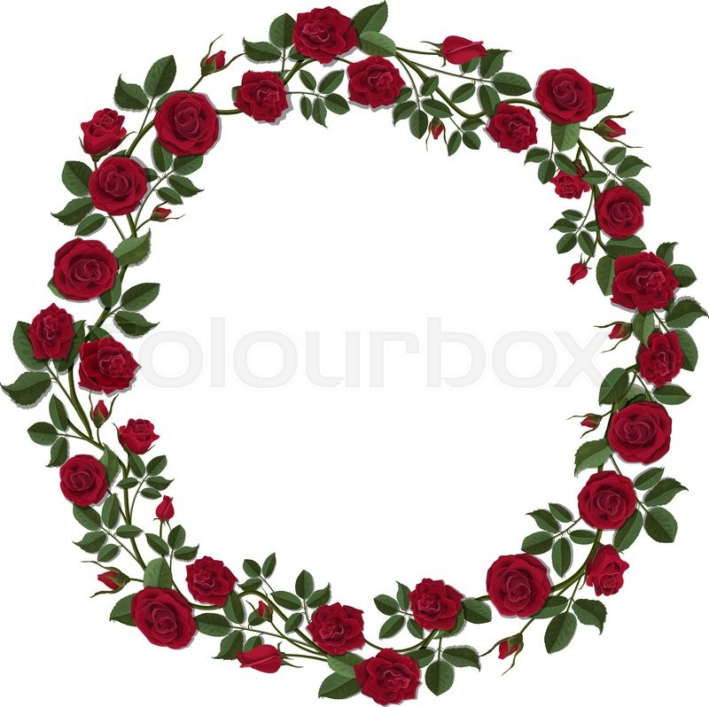 Round wreath of red roses. Round frame of flowers and buds of red ...